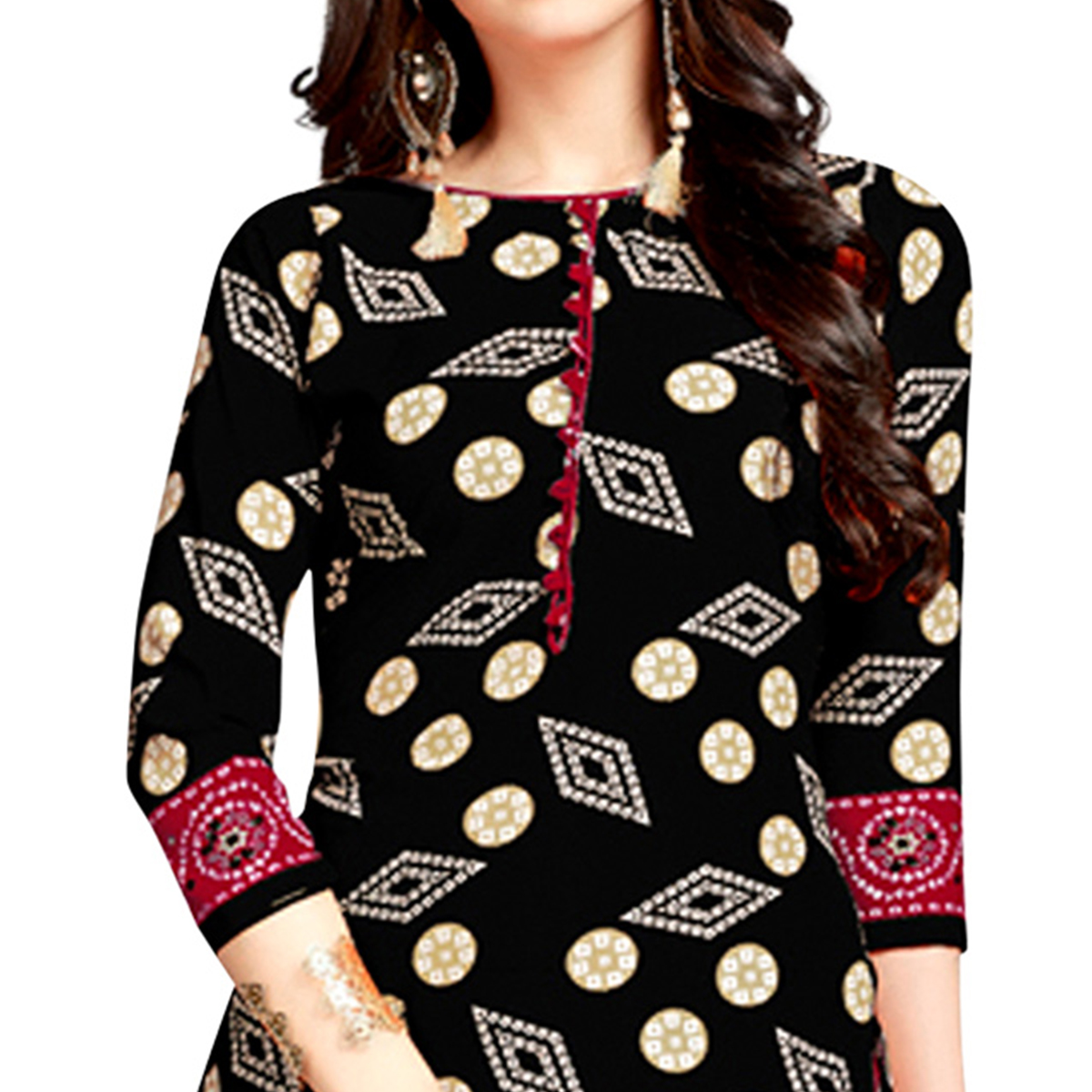 Magnetic Black Colored Casual Wear Printed Crepe Patiala Suit