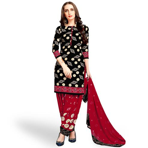 Magnetic Black Colored Casual Wear Printed leon Patiala Suit