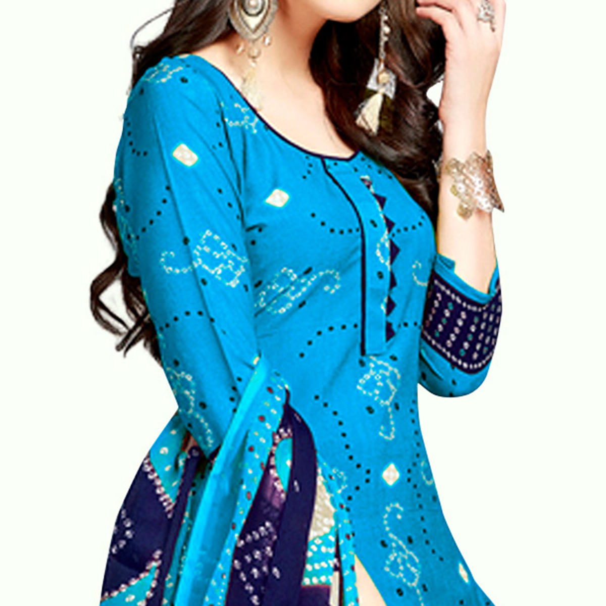 Hypnotic Sky Blue Colored Casual Wear Printed Crepe Patiala Suit