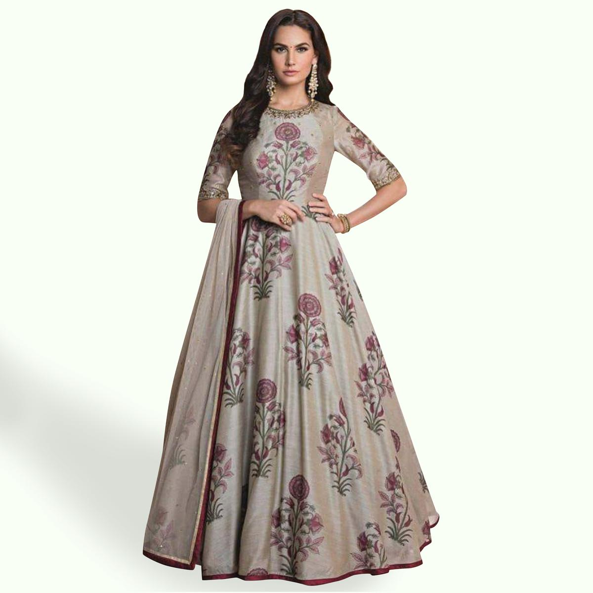88fc52cae1 Buy Ravishing Light Grey Colored Party Wear Digital Printed Banglori Silk  Gown Online India, Best Prices, Reviews - Peachmode