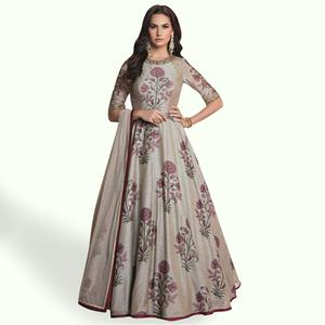 Ravishing Light Grey Colored Party Wear Digital Printed Banglori Silk Gown