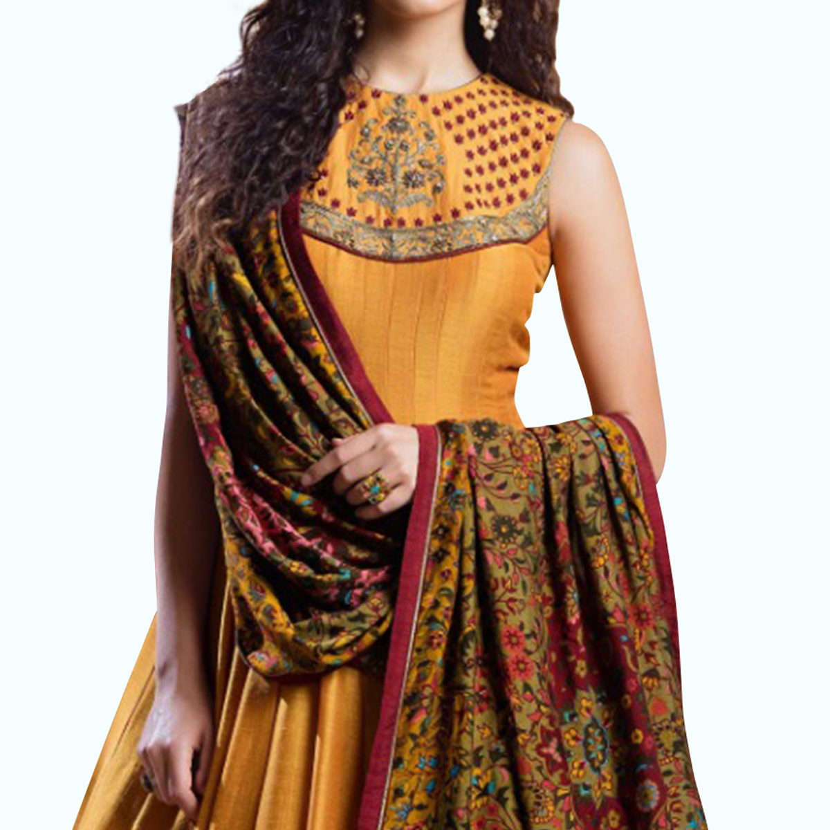 Amazing Mustard Yellow Colored Party Wear Embroidered Banglori Silk Gown