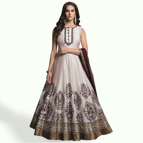 Stunning Ghost White Colored Party Wear Printed Modal Chanderi Gown