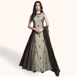 Surpassing Slate Grey Colored Party Wear Embroidered Banglori Silk Gown