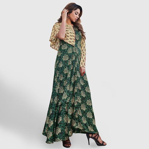 Jazzy Green-Beige Colored Partywear Printed Japan Satin Gown