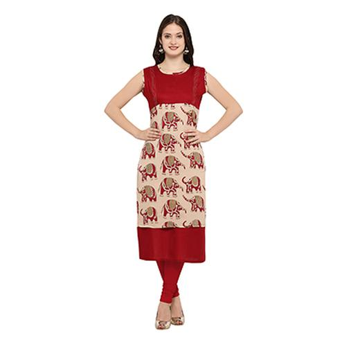 Maroon Casual Wear Digital Printed Kurti