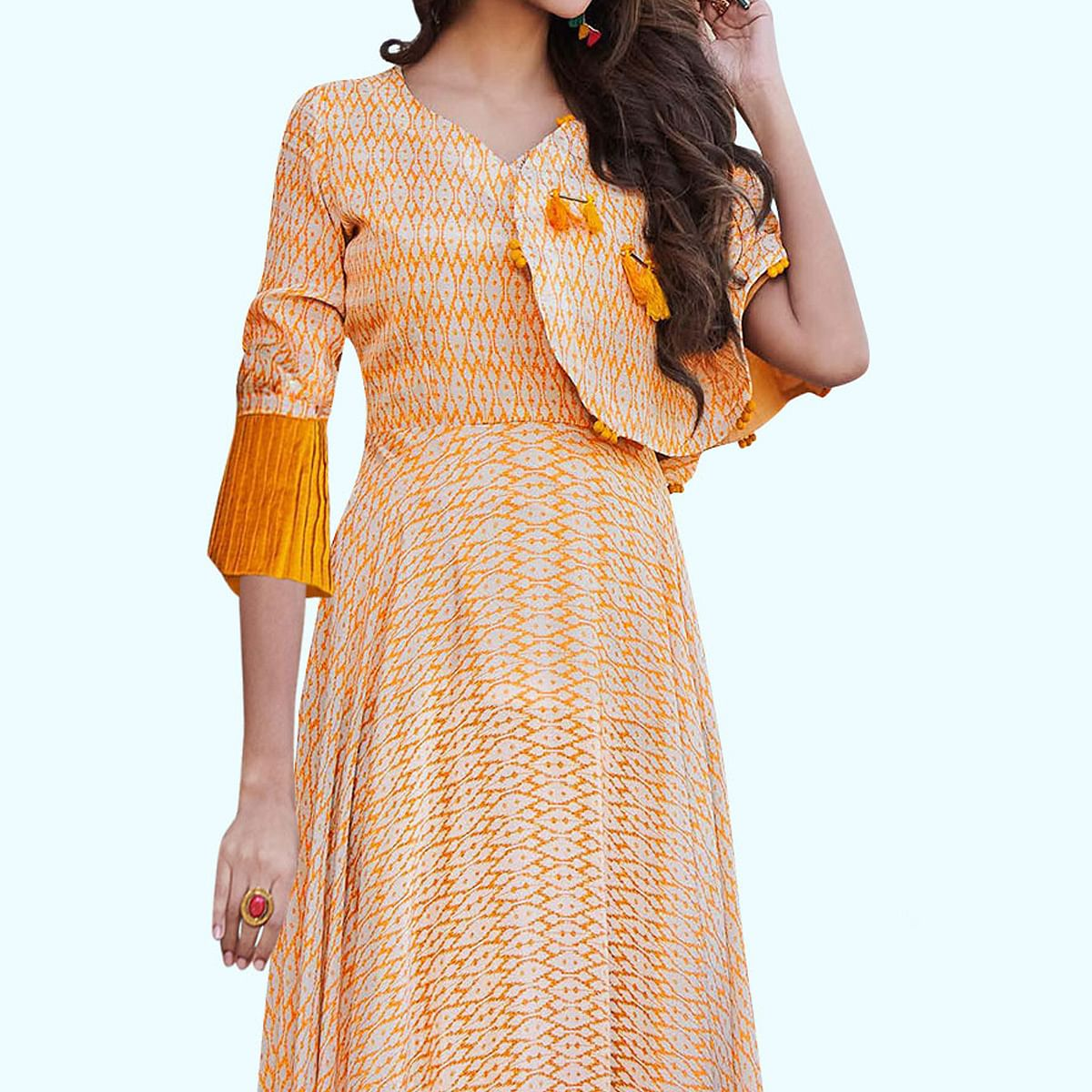Appealing Cream Colored Partywear Printed Georgette-Satin Gown