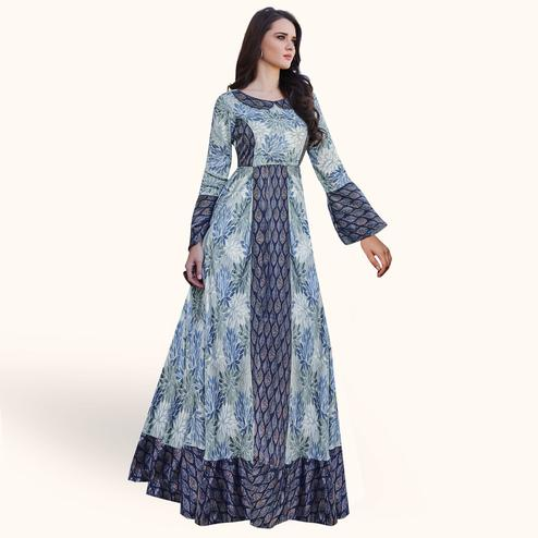 Capricious Blue Colored Partywear Printed Japan Satin Gown