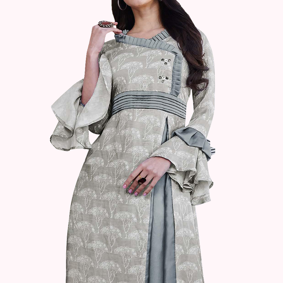 Captivating Gray Colored Partywear Printed Japan Satin Gown