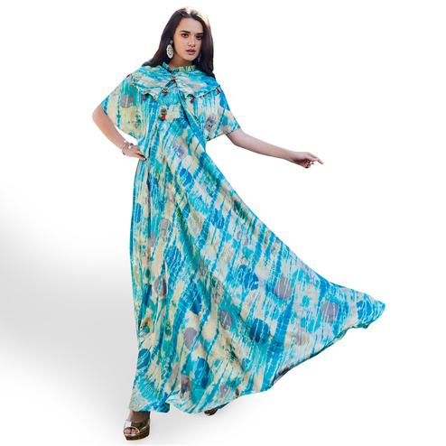 Innovative Blue Colored Partywear Printed Japan Satin Gown