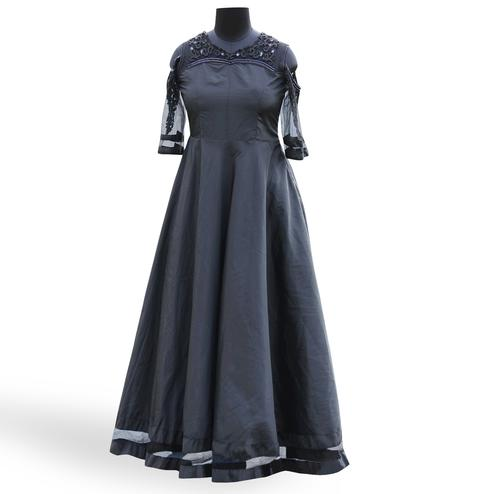 Stunning Black Colored Partywear Embroidered Soft Tapeta Silk Gown
