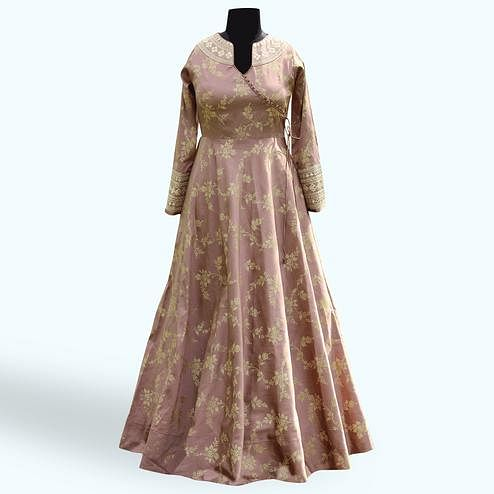 Marvellous Mauve Colored Partywear Embroidered Soft Tapeta Silk Gown