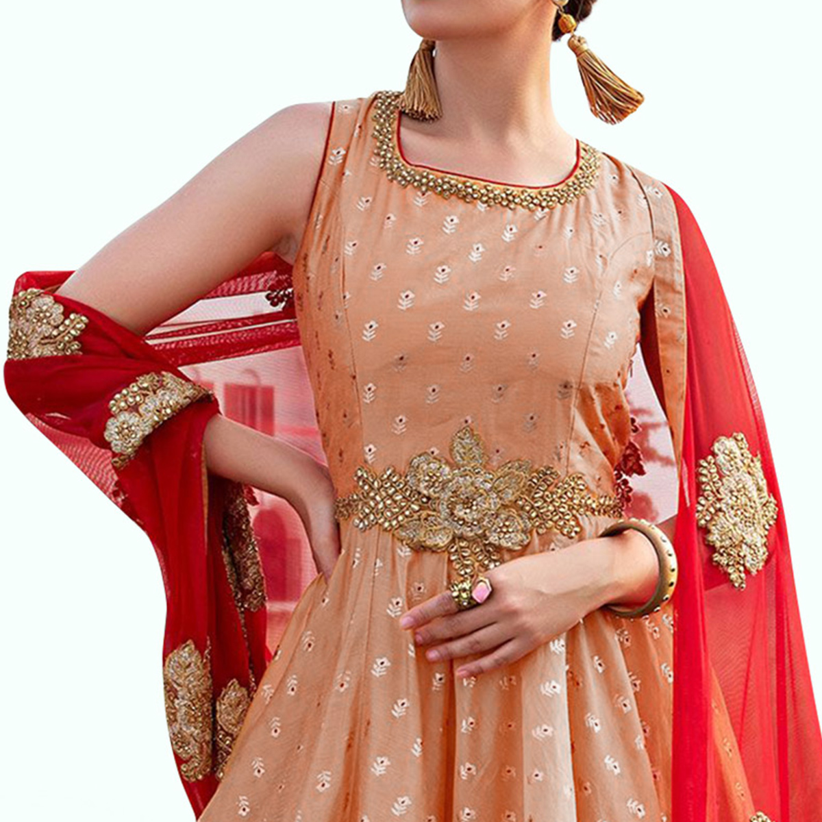 Demanding Peach Colored Partywear Embroidered Soft Tapeta Silk Gown