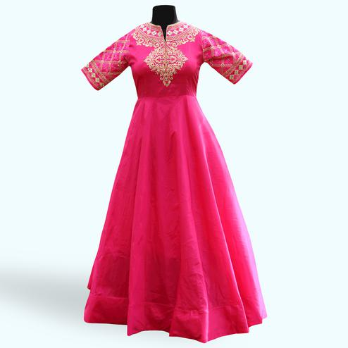 Charming Pink Colored Partywear Embroidered Soft Tapeta Silk Gown