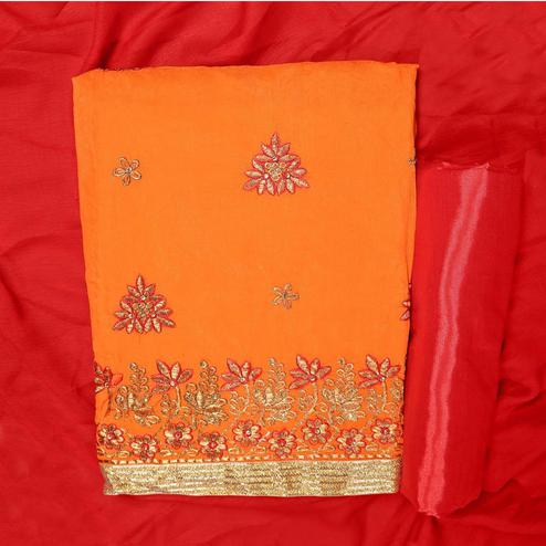 Opulent Orange Colored Partywear Embroidered Modal Dress Material