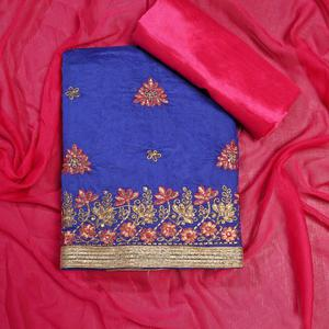 Energetic Blue Colored Partywear Embroidered Modal Dress Material