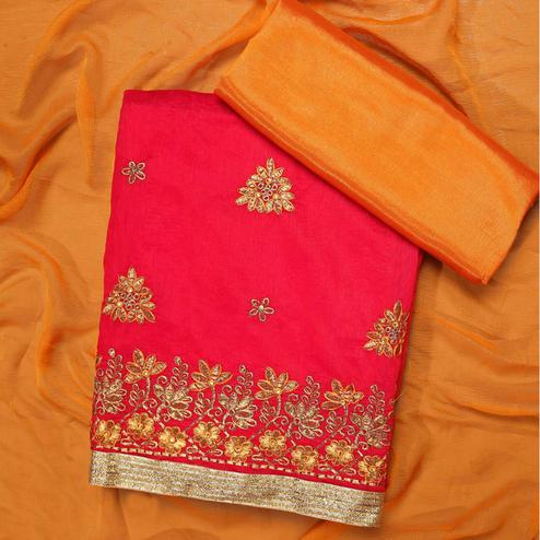 Glowing Red Colored Partywear Embroidered Modal Dress Material