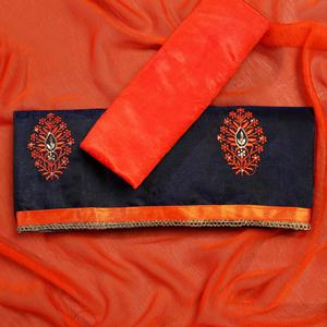 Refreshing Orange Colored Partywear Embroidered Modal Dress Material