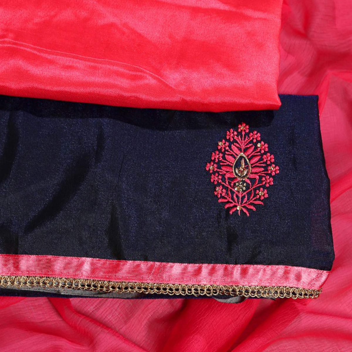 Magnetic Red Colored Partywear Embroidered Modal Dress Material
