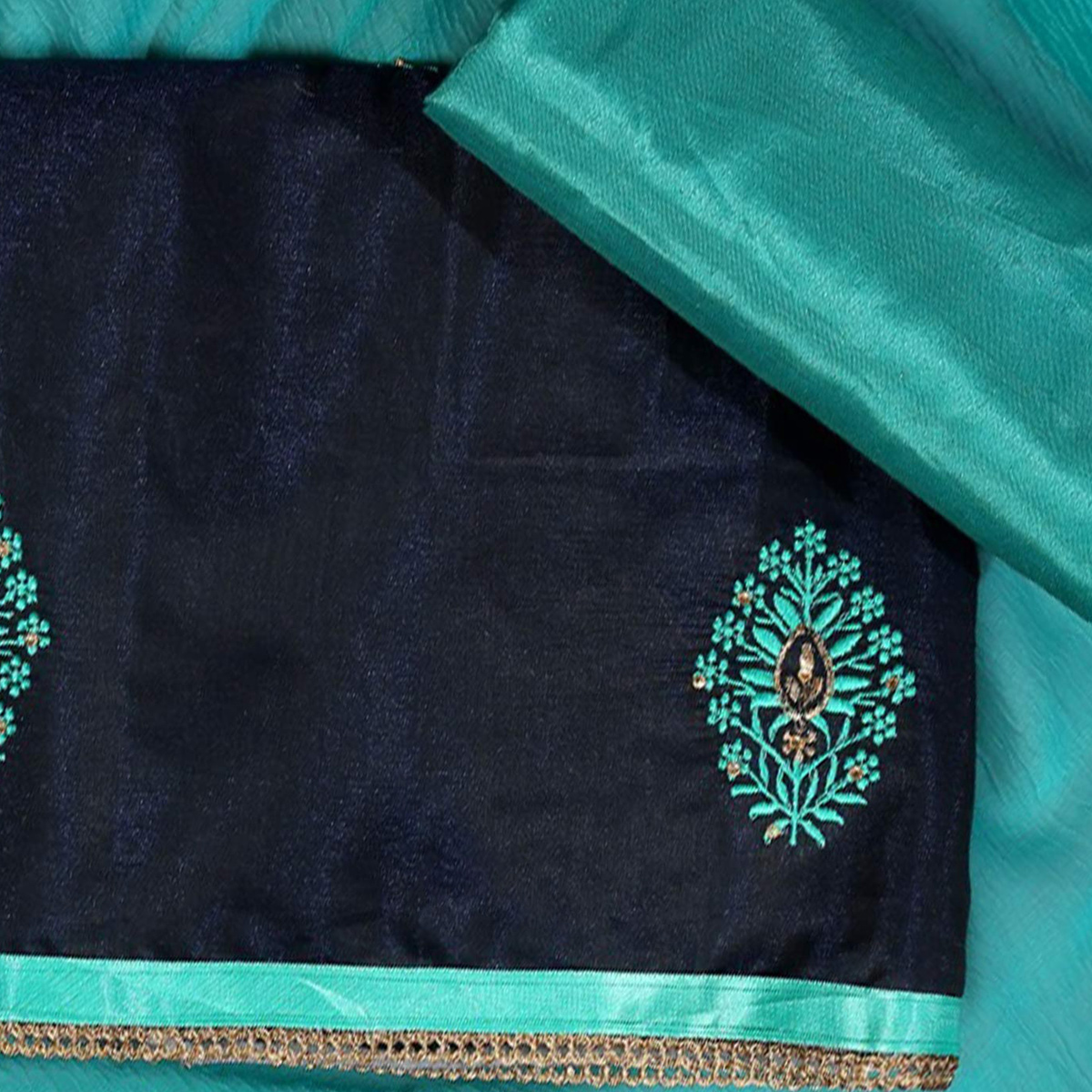Hypnotic Rama Blue Colored Partywear Embroidered Modal Dress Material