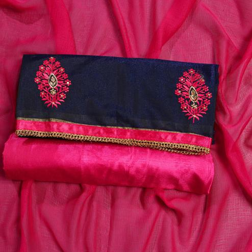 Elegant Pink Colored Partywear Embroidered Modal Dress Material