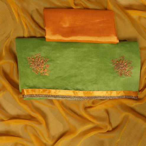 Excellent Green Colored Partywear Embroidered Modal Dress Material