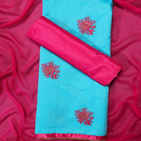Pleasance Sky Blue Colored Partywear Embroidered Modal Dress Material
