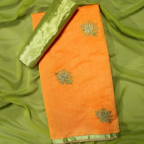 Preferable Orange Colored Partywear Embroidered Modal Dress Material