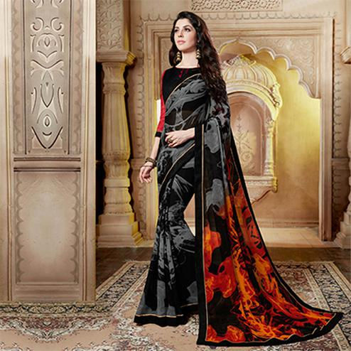 Stunning Black Georgette Casula Wear Printed saree