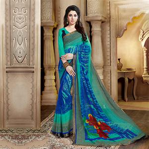 Stylish Blue Georgette Printed Designer Saree