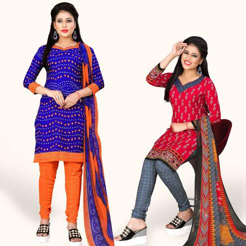 Classy Blue-Red Colored Casual Printed Crepe Dress Material - Pack of 2