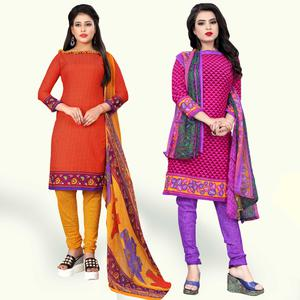 Lovely Orange-Pink Colored Casual Printed Crepe Dress Material - Pack of 2