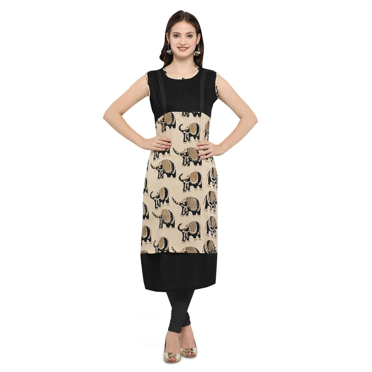 Black Casual Wear Digital Printed Kurti