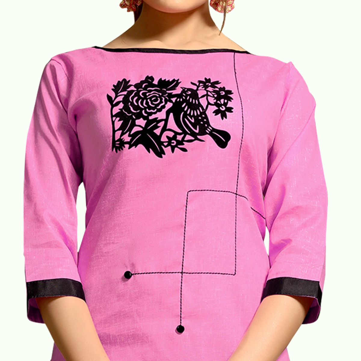 Intricate Pink Colored Casual Wear Printed Cotton Kurti
