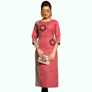 Adorable Light Red Colored Casual Wear Printed Cotton Kurti