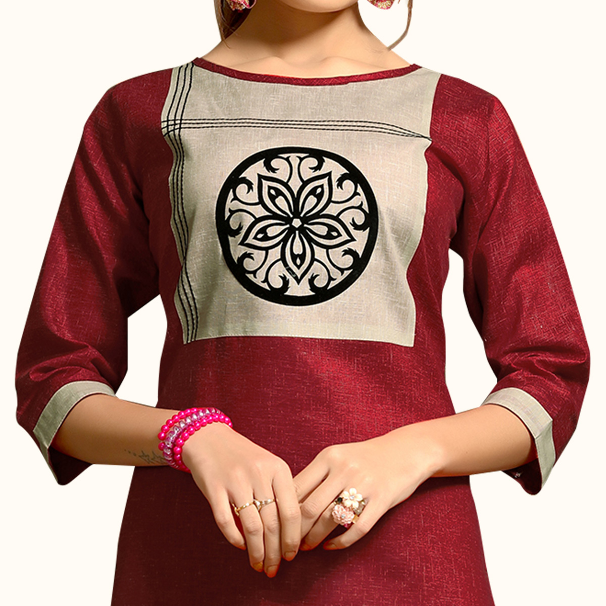 Amazing Maroon Colored Casual Wear Printed Cotton Kurti