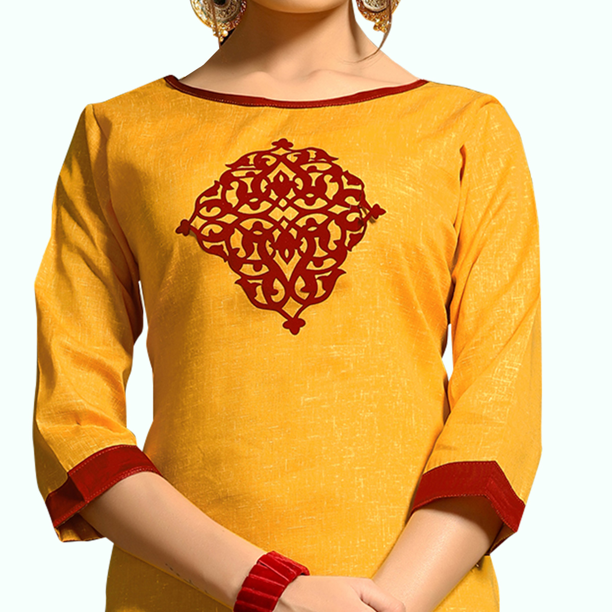Charming Yellow Colored Casual Wear Printed Cotton Kurti