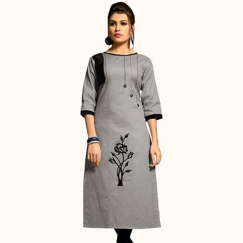 Delightful Grey Colored Casual Wear Printed Cotton Kurti