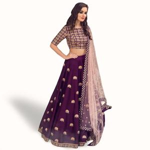 Sophisticated Purple Colored Partywear Embroidered Satin Lehenga Choli