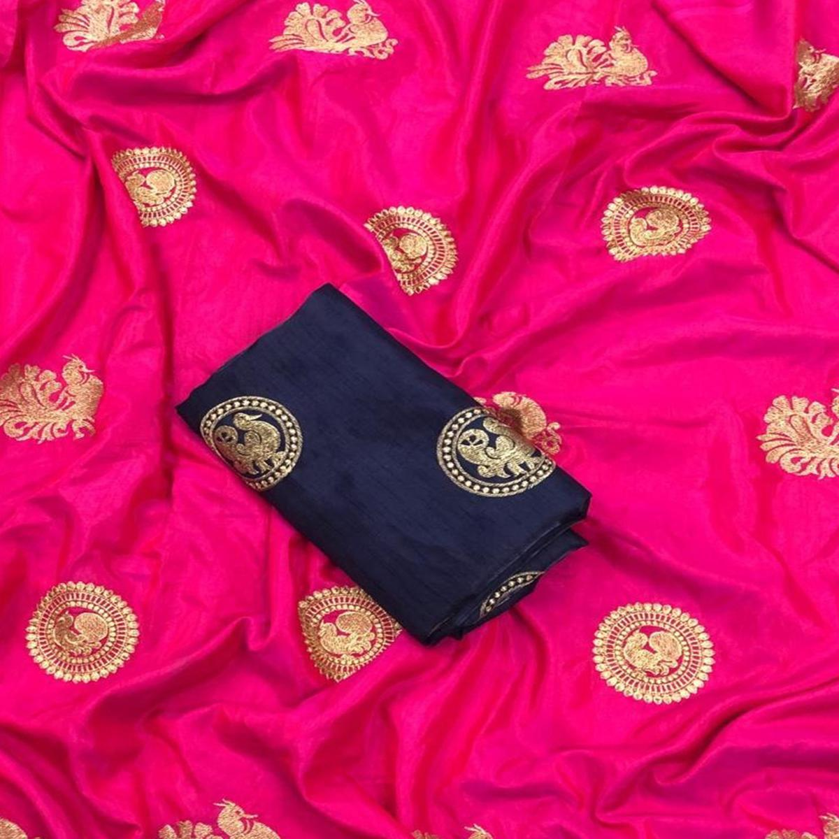 Classy Pink Colored Partywear Embroidered Art Silk Saree
