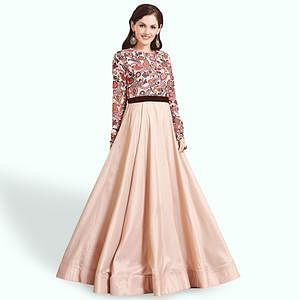 Jazzy Cream Colored Party Wear Printed Pure Cotton Gown