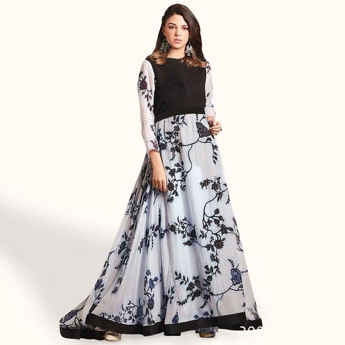 Adorning White Colored Party Wear Printed Pure Cotton Gown