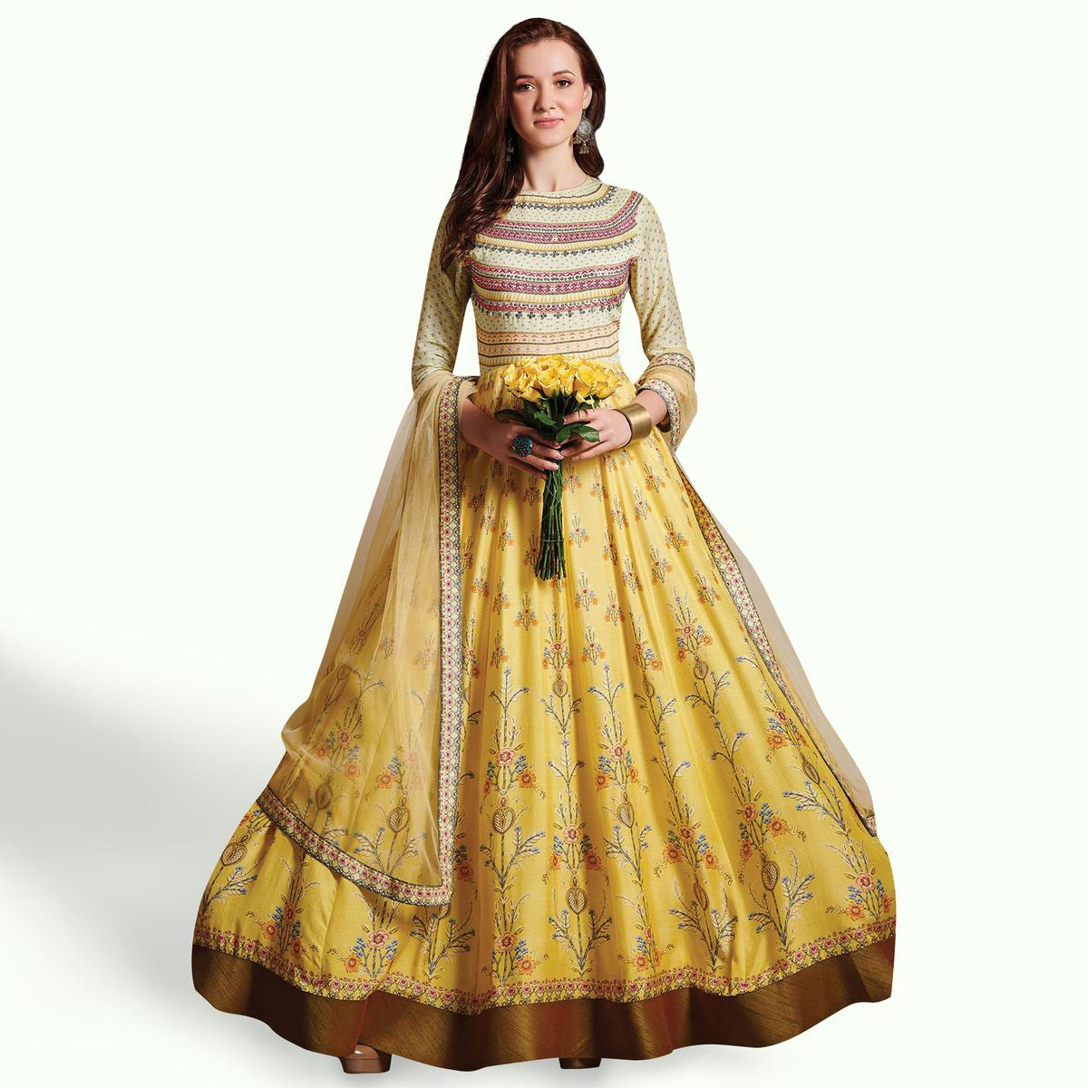 Intricate Yellow Colored Party Wear Printed Pure Cotton Gown