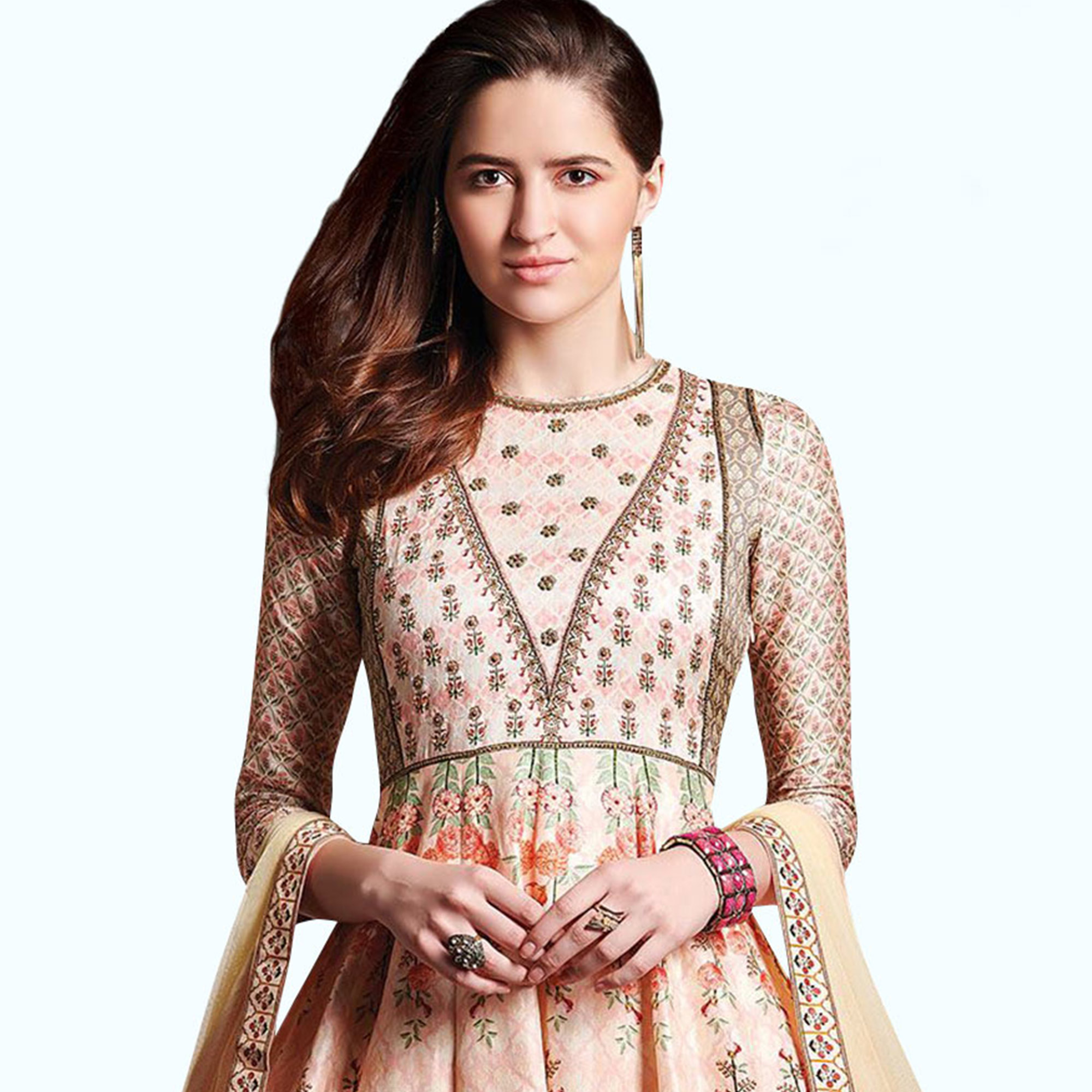 Desirable Peach Puff Colored Party Wear Printed Pure Cotton Gown