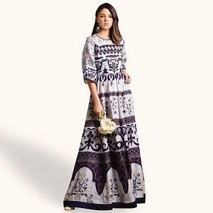 Prominent White Colored Party Wear Printed Pure Cotton Gown