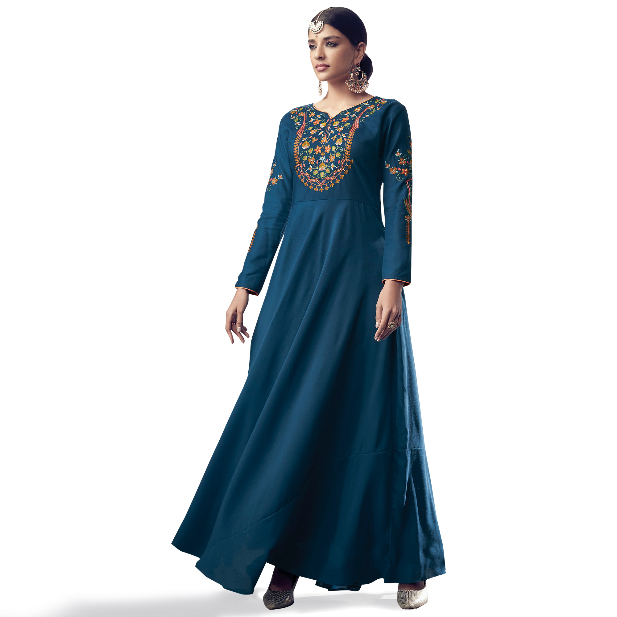 Jazzy Teal Blue Colored Party Wear Embroidered Cotton Anarkali Suit