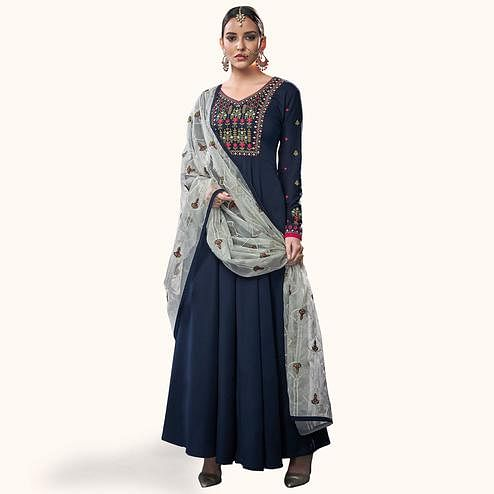 Intricate Navy Blue Colored Party Wear Embroidered Cotton Anarkali Suit