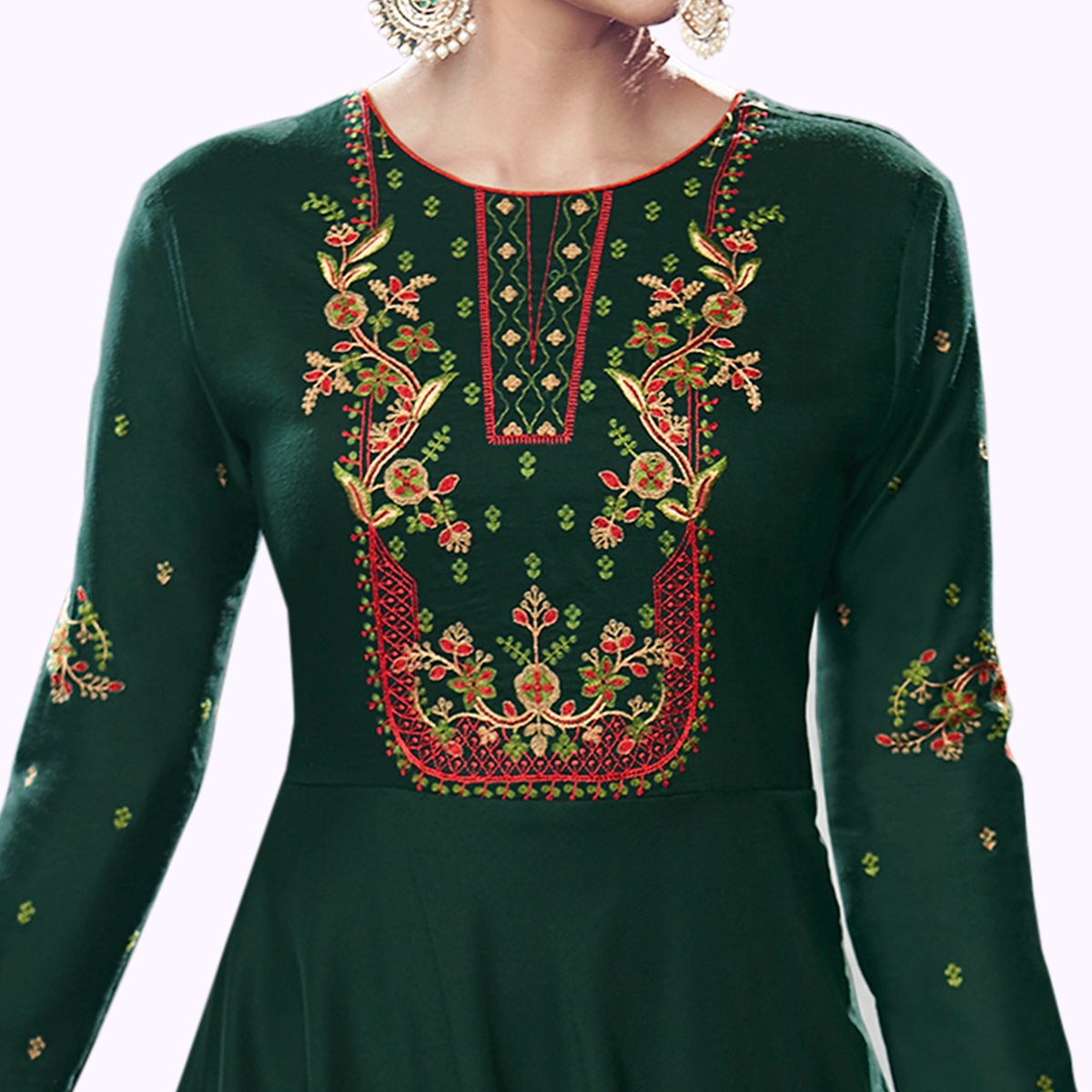 Flattering Dark Green Colored Party Wear Embroidered Cotton Anarkali Suit