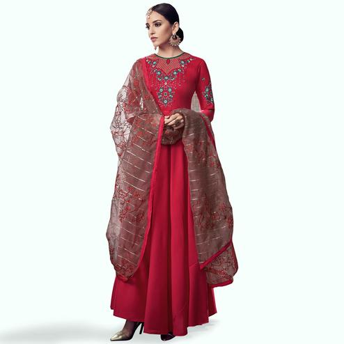 Radiant Red Colored Party Wear Embroidered Cotton Anarkali Suit