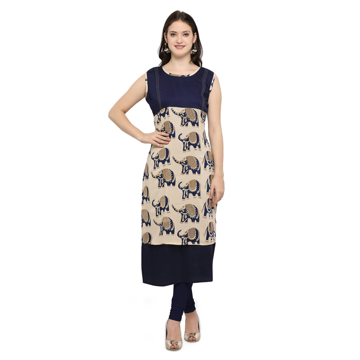 Blue Casual Wear Digital Printed Kurti